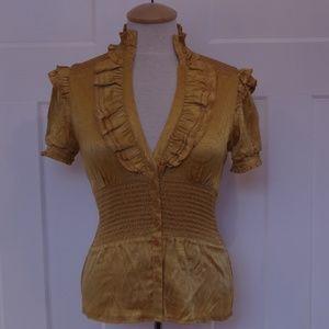 Bebe Marigold Silk Ruffled S/S Blouse- Size Small
